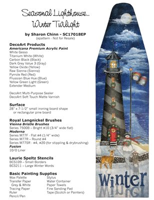 Seasonal Lighthouse - Winter Twilight Painting Pattern Tutorial by Sharon Chinn SC17018