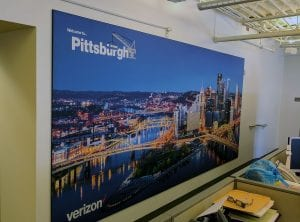 Direct Print Fabric Banner of Pittsburgh Skyline at Night