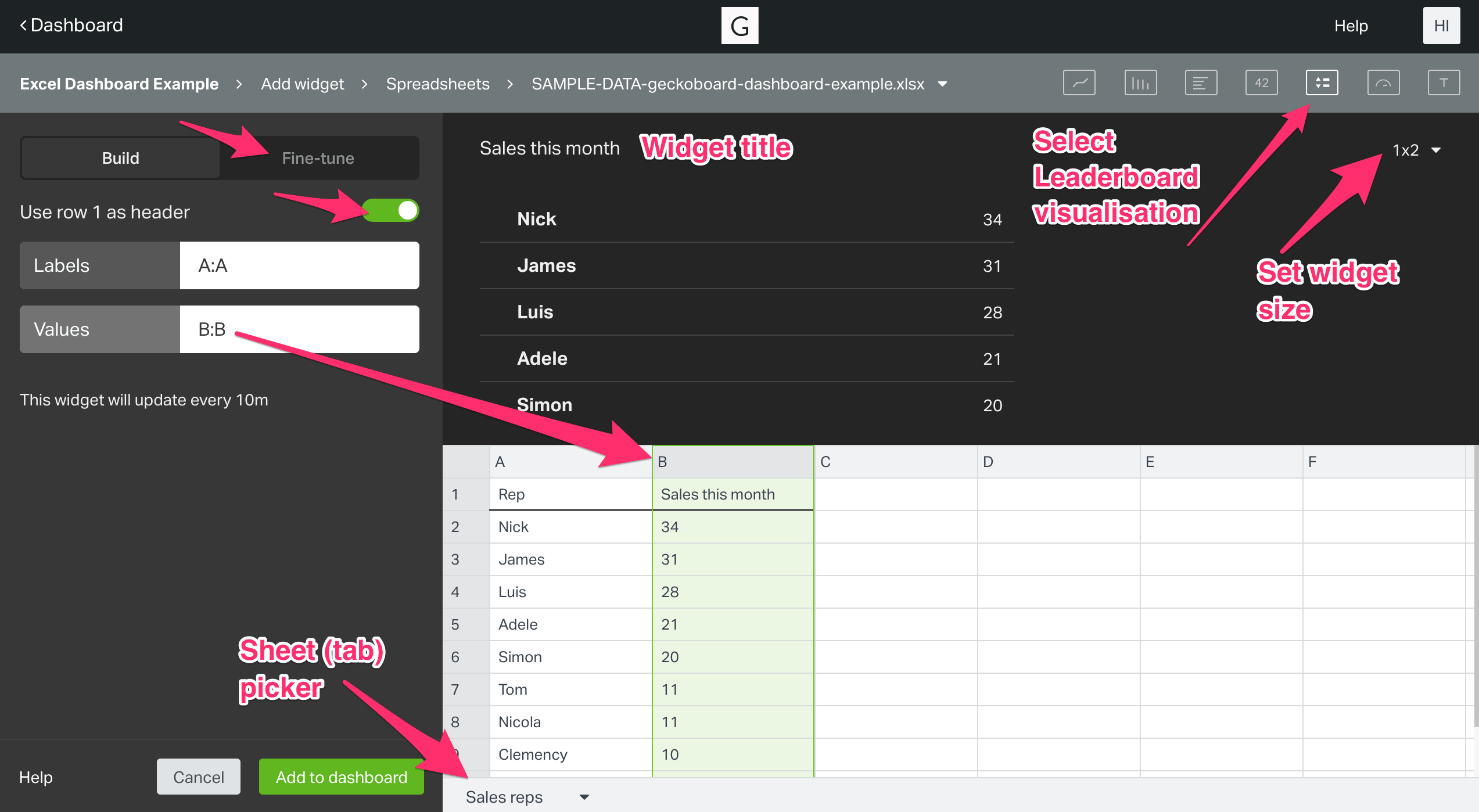 Steps To Build The Live Excel Or Sheets Dashboard