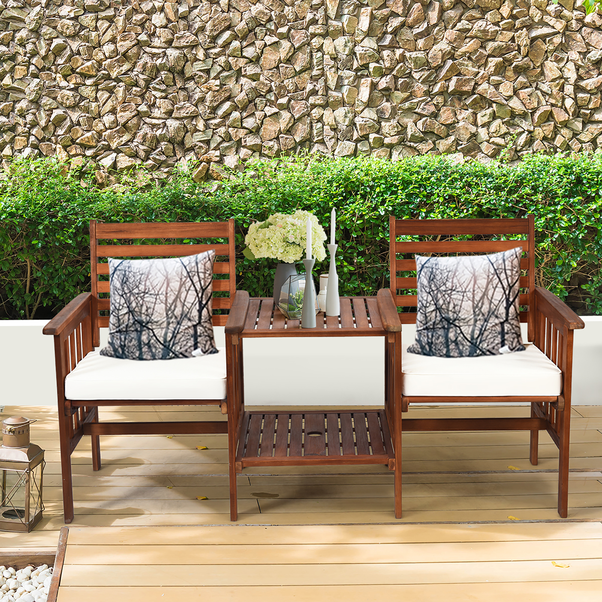 costway costway patio loveseat conversation set acacia wood chair coffee table cush from tanga com accuweather