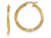 14k Yellow Gold TexturedBright-cut Post Hoop Earring - Tanga