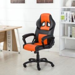 Office Chair Orange Outdoor Cushions Canada Belleze Executive Racing Computer Desk High