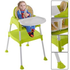 Baby Highchair 3 In 1 Most Comfortable Computer Chair Green High Convertible Table Seatfeeding