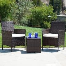 Wicker Outdoor Set 3 Piece Patio Rattan 2 Chairs 1 Glass
