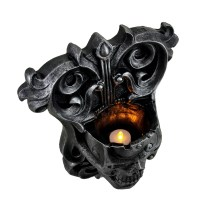 Flame Of Eternity Gothic Graphite Skull Wall Candle ...