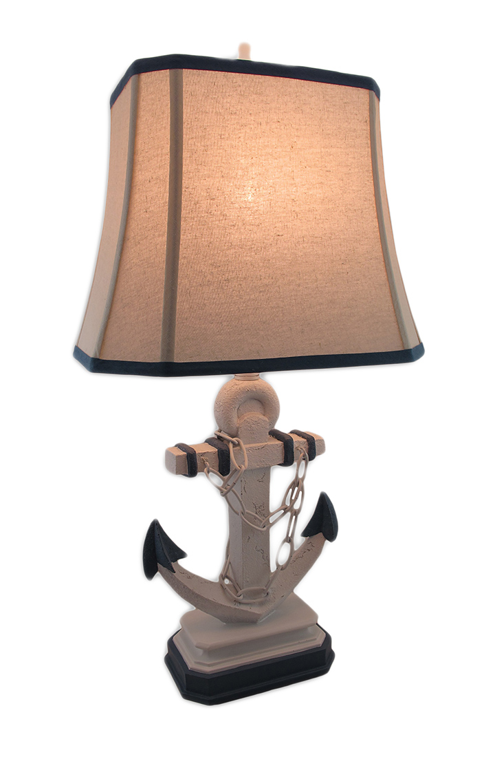 Nautical Weathered Blue And White Anchor Lamp With Table