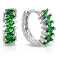 Marquise Colored Cubic Zirconia Huggie Earrings - 3 Colors ...