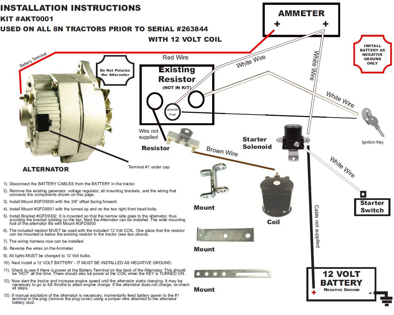 ford 8n starter solenoid wiring diagram wall outlet diagrams new alternator conversion kit fits early 2n tractors