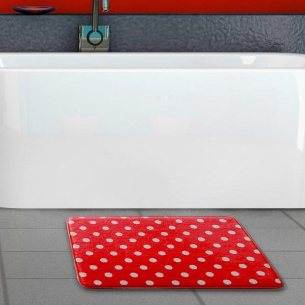 Ultra Plush Polka Dot Memory Foam -slip Bath Mat
