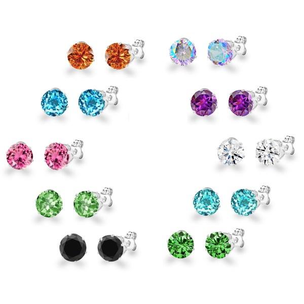 Stainless Steel Colored Crystal Stud Earrings - Choose