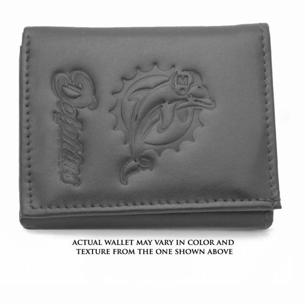 Miami Dolphins Genuine Leather Tri-fold Wallet - Tanga