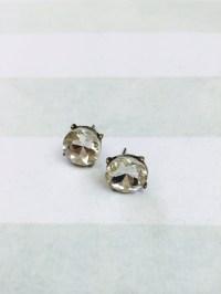 Large Rhinestone Stud Earrings - 2 Colors - BelleChic