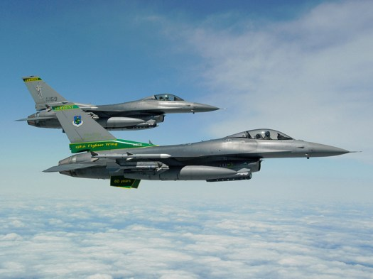 F-16s of the 134th Fighter Squadron.