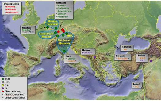 A map of American military facilities in Europe and the Near East as of 2015, showing Site 512 in Israel.