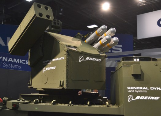 Boeing turret on the back of a variant of GDLS' Stryker.