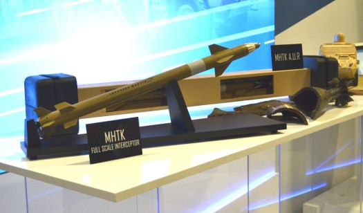 A full size model of the MHTK missile and other example in a single launch type, as well as the remains of a mortar bomb the system destroyed in tests.