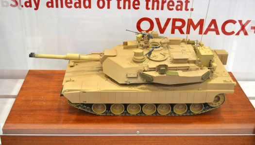 A model of an M1A2 Abrams tank with the Trophy active protection system.