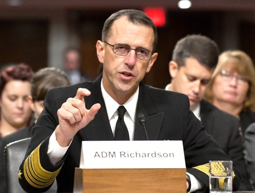 U.S. Navy Chief of Naval Operations Admiral John Richardson testifies before the Senate Armed Services Committee in September 2017.