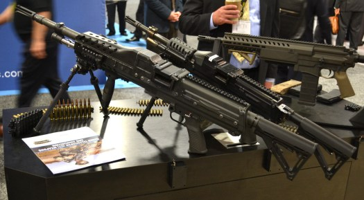 Prototype light machine guns and rifles Textron had developed to fire cased-telescoped ammunition.
