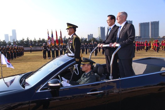 US Secretary of Defense James Mattis and South Korean Defense Minister Song Young-moo review troops.