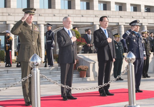 Left to right, Chairman of the Joint Chiefs of Staff General Dunford, US Secretary of Defense James Mattis, South Korean Defense Minister Song Young-moo, and South Korean Chairman of the Joint Chiefs of Staff General Jeong Kyeong-doo.