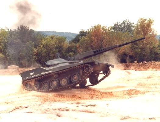 One of AAI's Rapid Deployment Force Light Tank prototypes with a 75mm high velocity cannon.