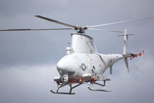 A MQ-8B Fire Scout drone helicopter.