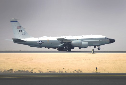An RC-135V/W Rivet Joint takes off from Al Udeid Air Base in October 2016.