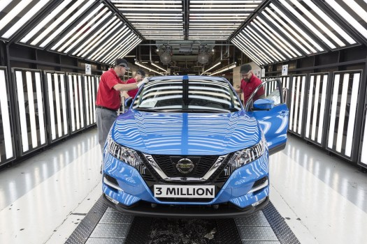 There she is, the 3 millionth Qashqai to cross the assembly line in Sunderland