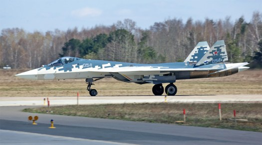 The Su-57 may be the highest technology Russia has to offer, but it retained the hardy landing gear of its predecessors.