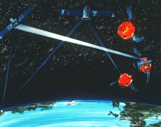 A Cold War-era artist's conception of a notional hybrid ground- and space-based laser weapon to destroy enemy satellites or incoming ballistic missiles.