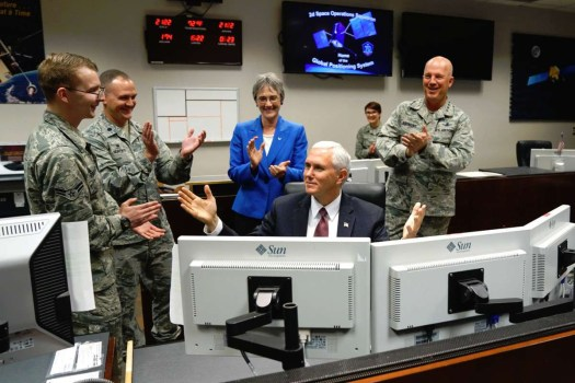 Vice President Mike Pence during a visit to the US Air Force's 50th Space Wing at Schriever Air Force Base. This unit could end up as part of the new Space Operations Force.
