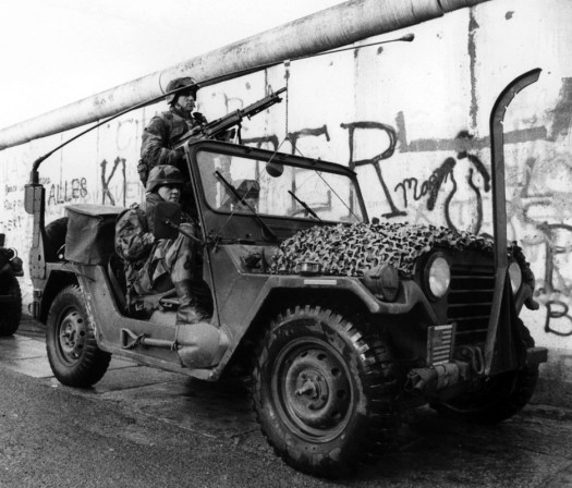 US Army troops patrol the Berlin Wall in West Berlin in 1986.