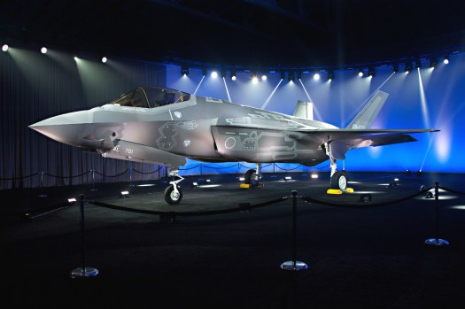 An F-35A in Japanese Air Self Defense Force markings at an official rollout ceremony in 2016.
