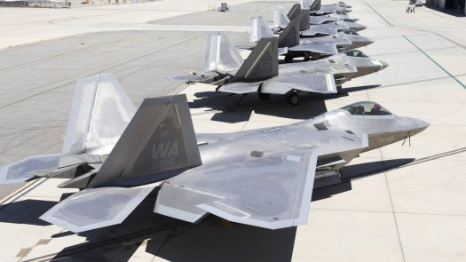 A row of US Air Force F-22s.