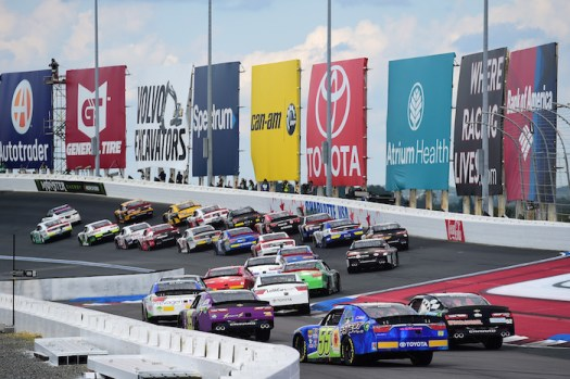 Cars on track during the Drive for the Cure 200 at the Charlotte Motor Speedway Roval on Sept. 29, 2018.