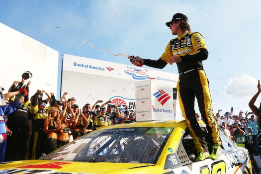 Ryan Blaney celebrates in victory lane at Charlotte Motor Speedway after winning the Bank of America Roval 400 on Sept. 30, 2018