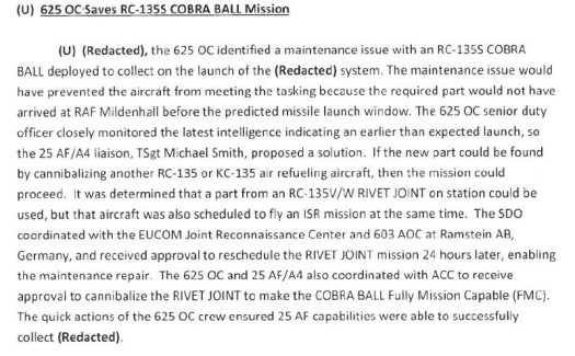 The entry from the 25th Air Force history for 2016 covering the RC-135S mission in question.