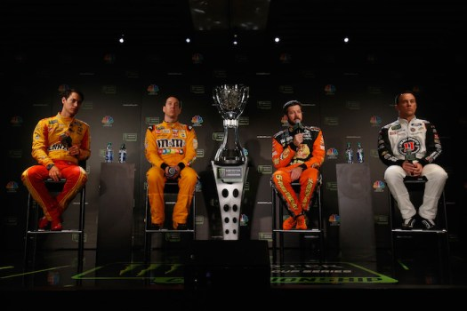 The 2018 Monster Energy NASCAR Cup Series 2018 Championship Four Drivers [L to R] Joey Logano, Kyle Busch, Martin Truex Jr., and Kevin Harvick answer press questions in Miami on Nov. 15, 2018.