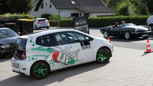 Another driver heads out in the Sub7Up! It's an eye-catching car even during Oldtimer Grand Prix Weekend.