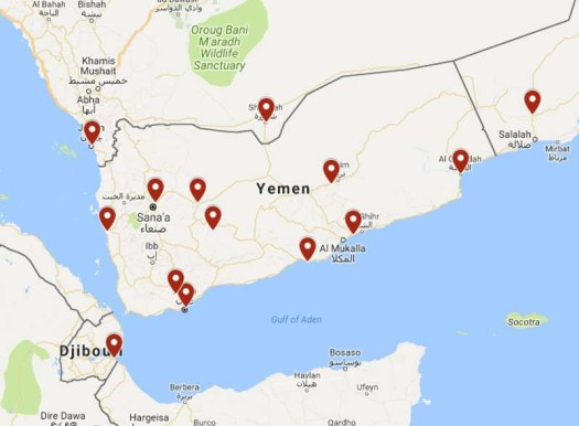 A map showing 10 seperate locations in Yemen, as well as other sites in neighboring countries. The ones within Yemen encompass what the U.S. military calls the Yemen Joint Special Operations Area. In May 2018, U.S. Transportation Command expressed an interest in hiring contractors to provide casualty evacuation and personnel recovery services within range of these locations.