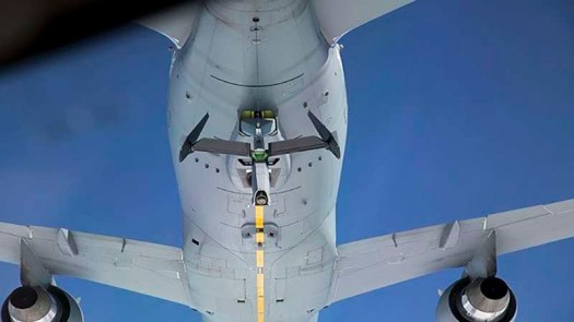 A view from a receiving aircraft of the remotely-operated boom on the KC-46A.