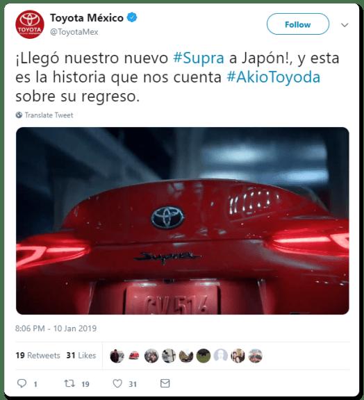 Toyota Mexico's Infamous Deleted Supra Tweet