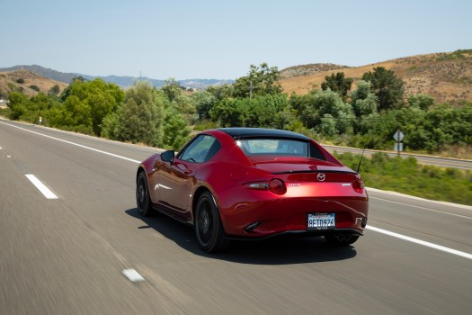 RF, here with its hand-painted black roof, brings fresh, coupe-like style to the familiar Miata