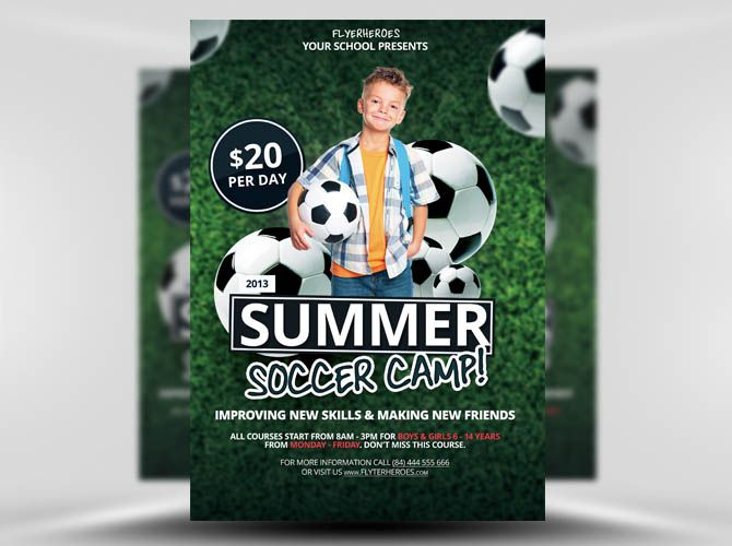 Free Summer Soccer Camp Flyer Template Theflyermarket