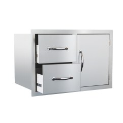 Outdoor Kitchen Drawers Islands With Stools Summerset Door And 2 Drawer Combo Ssdc 1 Thegrillfather