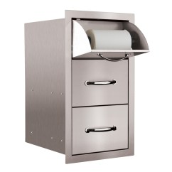Outdoor Kitchen Drawers Liquidation Cabinets Summerset Towel And 2 Drawer Combo Sstdc 1 Thegrillfather