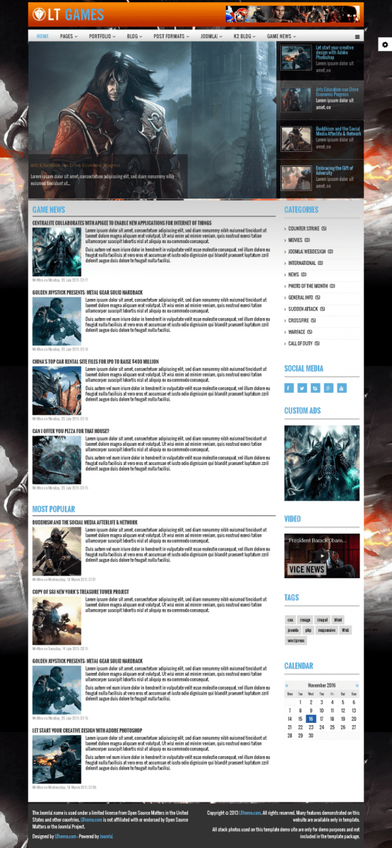 LT Games - Free Magazine / News Games Joomla template - Free Jommla! template