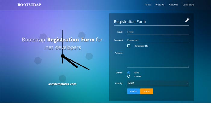 Free download Bootstrap Registration Form asp templates