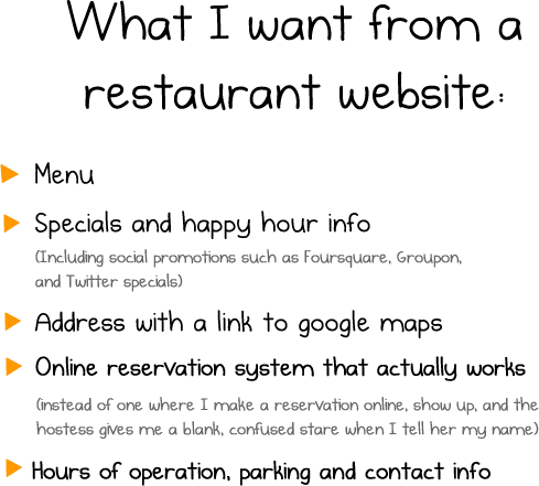 What I want from a restaurant website